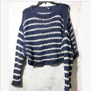 Free people• fishnet crew neck sweater